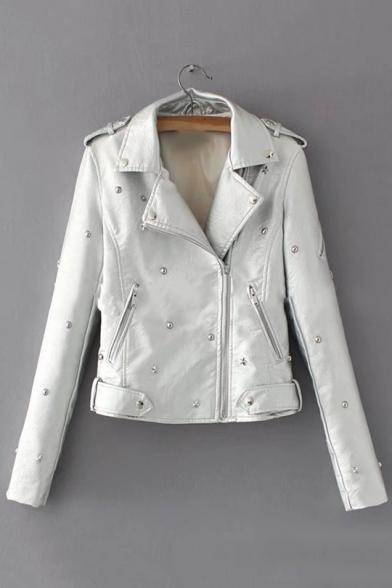 Womens Cool Trendy Rivet Embellished Solid Color Lapel Collar Long Sleeve Zip Up Short Biker Jacket