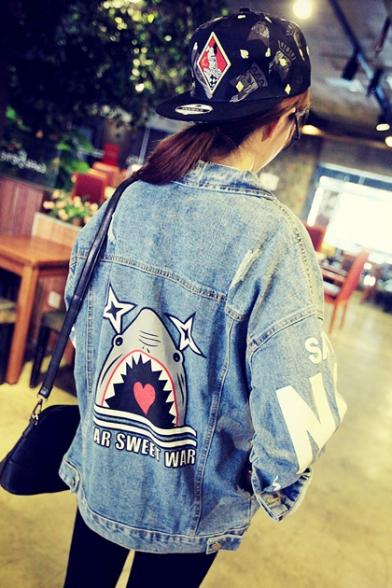 Womens Funny Cartoon Shark Printed Back Button Down Blue Denim Jacket