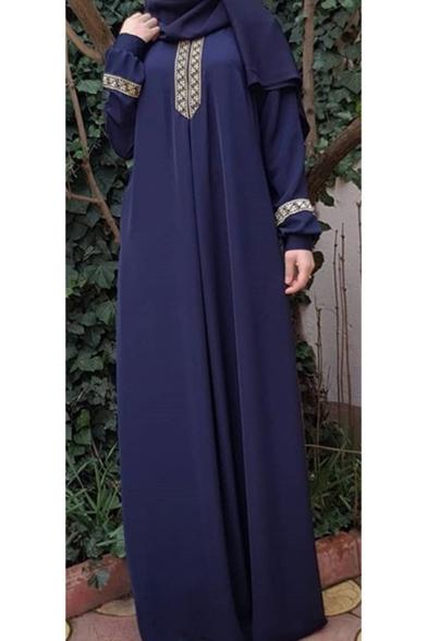 Womens Hot Fashion Round Neck Long Sleeve Floral Tribal Print Shift Maxi Dress