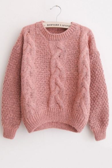 Womens Lovely Plain Cable Knit Round Neck Long Sleeve Sweater, LM557010, Blue;green;pink;red;gray;khaki