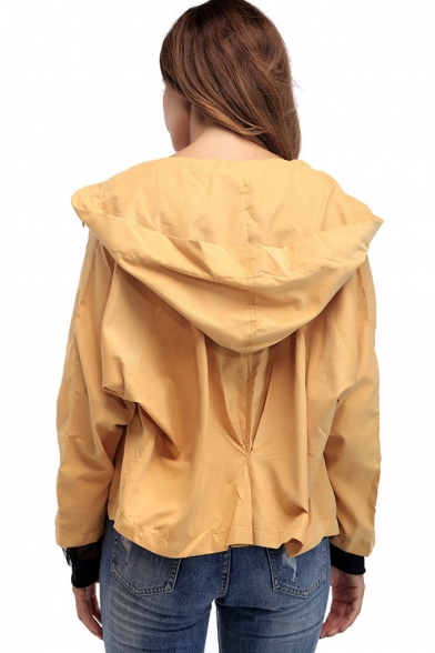 Womens New Trendy Yellow Solid Color Long Sleeve Zip Up Hooded Coat