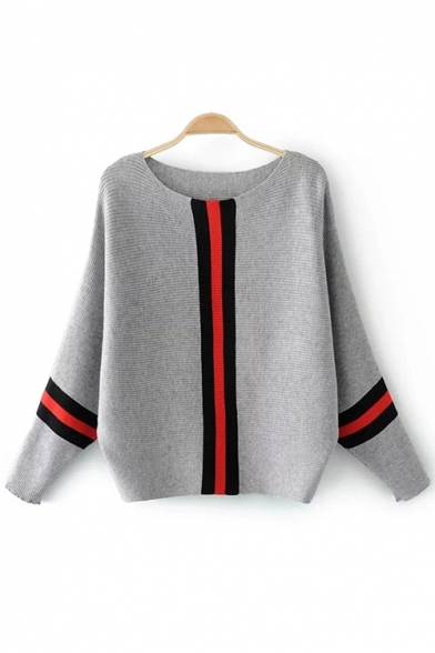 Womens Off-Duty Casual Stripes Patchwork Print Round Neck Batwing Sleeve Sweater, Black;beige;gray, LM557071