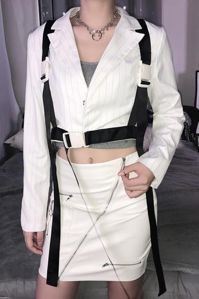 Womens Pinstripe Notch Lapel Collar Push Buckle Belted Cargo Cropped Blazer