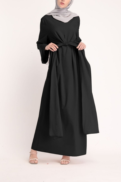 Womens Round Neck Long Sleeve Bow-Tied Wait Convertible Plain A-Line Maxi Dress