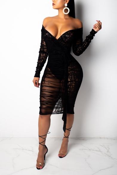 Womens Sexy Black Transparent Lace Plunge V-Neck Long Sleeve Midi Bandage Dress