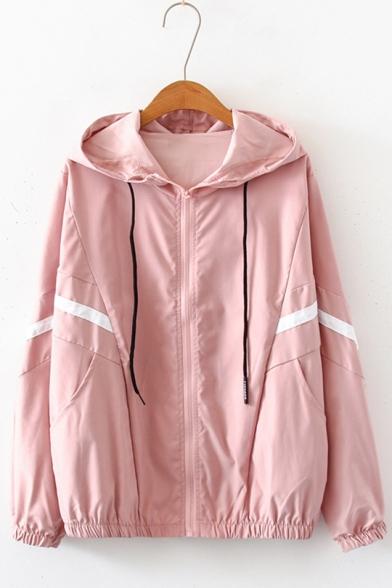 Womens Simple Stripe Printed Long Sleeve Zip Up Hooded Coat Jacket