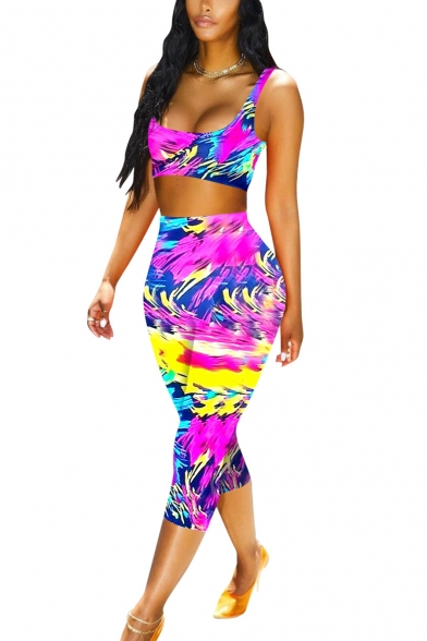 Womens Stylish Purple Painting Scoop Neck Crop Tank with Skinny Pants Yoga Co-ords, LM553013