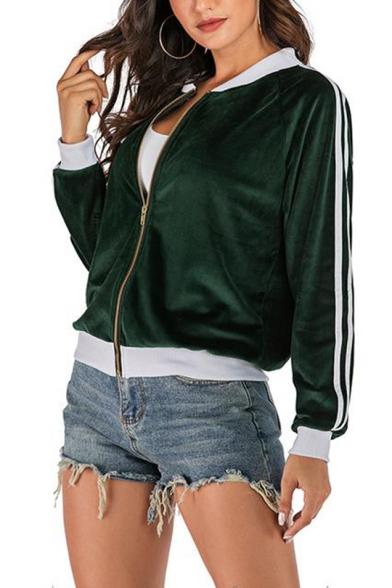 Womens Trendy Green Contrast Trim Stripe Long Sleeve Zip Up Jacket