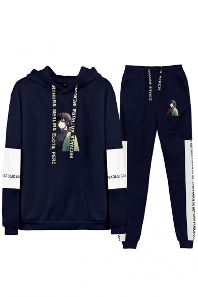 Autumn Winter New Comic Figure Print Long Sleeve Hoodie with Drawstring Sweatpants Two Piece Set