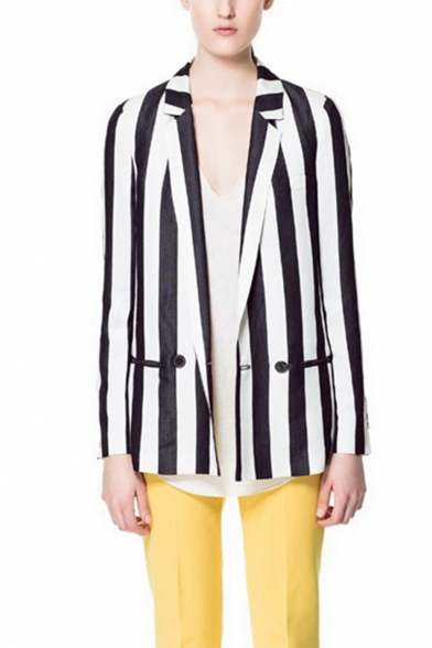 Chic Black and White Contrast Stripes Single Button Pocket Regular Fit Blazer