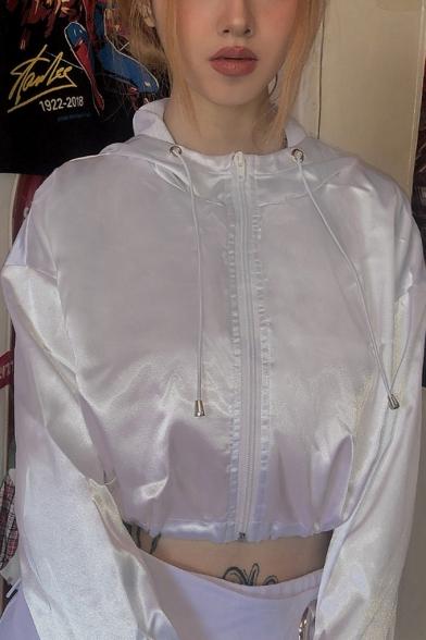 Cool Solid Color Long Sleeve Drawstring Hem Zip Up Hooded White Crop Jacket