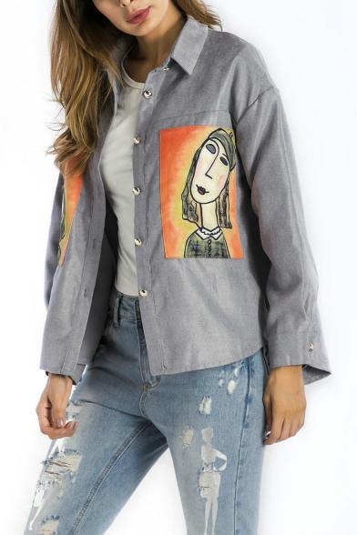 Fashion Cartoon Figure Printed Lapel Collar Long Sleeve Button Down Grey Shirt Jacket for Women