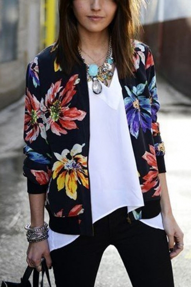 Floral Printed Stand-Up Collar Long Sleeve Tribal Style Zipper Black Thin Jacket Coat, LM557416