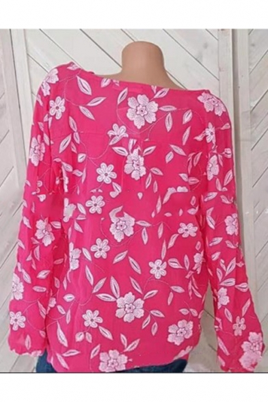 Girls New Trendy Floral Print V-Neck Long Sleeve Lace Patched Loose Casual Shirt