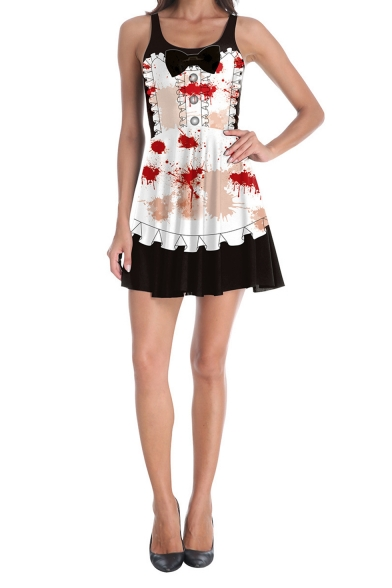 Halloween Fashion Bow-Tied Scoop Neck Sleeveless Blood Mini White Maid Cosplay Tank Dress