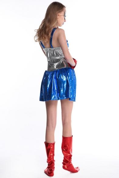Halloween New Stylish Square Neck Sleeveless Star Stripe Printed Mini A-Line Cosplay Dress