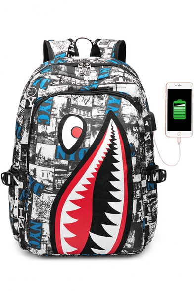 Hot Fashion Cartoon Shark Printed Waterproof Creative USB Charging Canvas School Bag Backpack 32*13*43cm