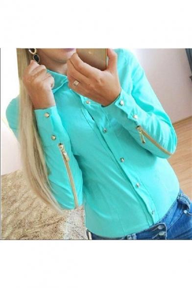 Hot Fashion Plain Lapel Collar Zipped Long Sleeve Buttons Down Studded Embellished Shirt