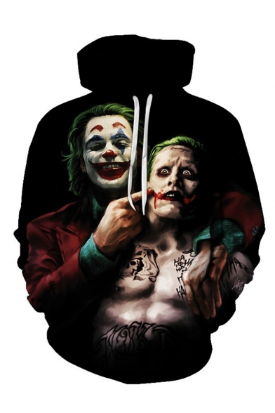 Hot Popular Joker Character 3D Printed Drawstring Hooded Pullover Long Sleeve Black Hoodie