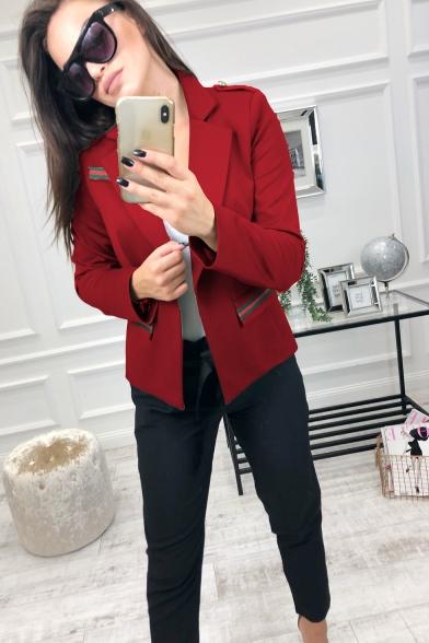 Ladies New Trend Raglan Sleeves Contrast Stripe Flap Pocket Red Fitted Blazer