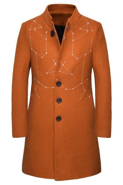 Men's Hot Popular Notched Lapel Collar Single Breasted Embroidery Print Mid-Length Casual Peacoat