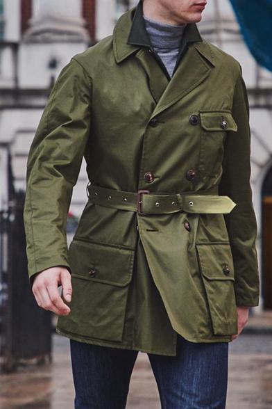 Men's New Stylish Long Sleeve Lapel Collar Plain Belt Detail Single Breasted Trench Coat