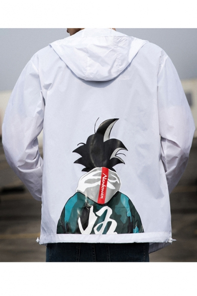 Mens Cool Comic Anime Character Printed Back Hooded Long Sleeve Zip Up Track Jacket