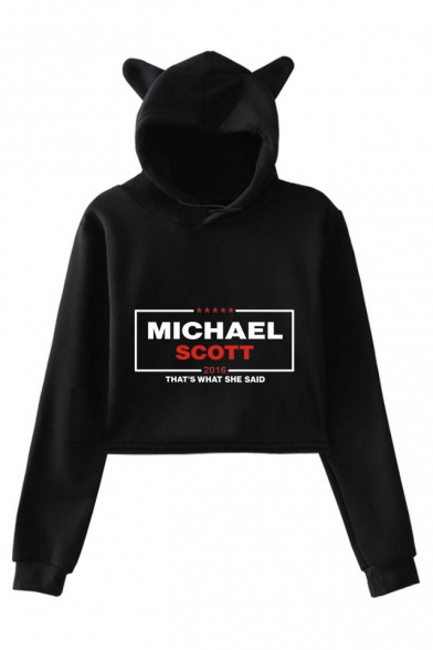 Michael Scott Letter Printed Cute Ear Design Long Sleeve Pullover Crop Hoodie