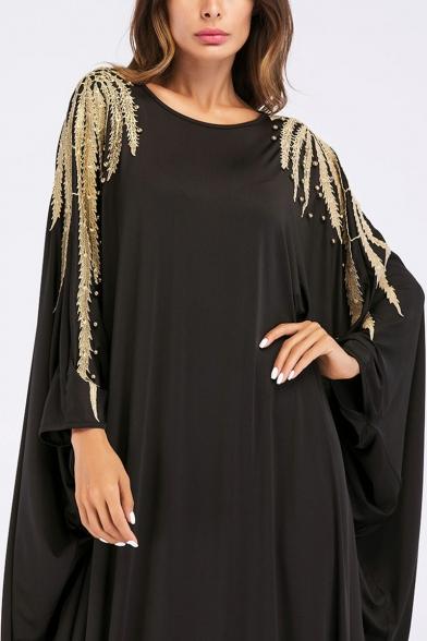 Moslem Round Neck Batwing Sleeve Gold Beading Shift Black Maxi Dress