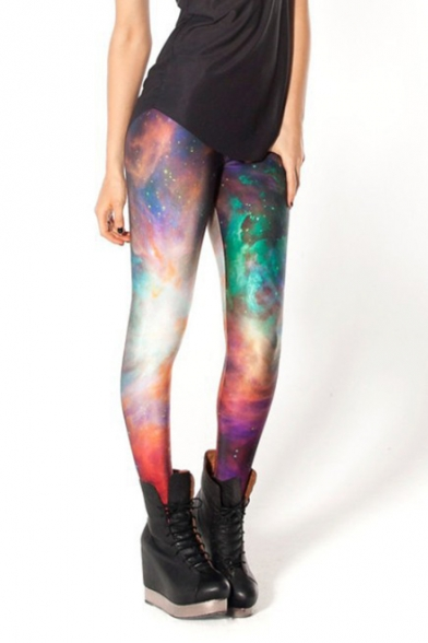 MultiColor Galaxy Rainbow Print Full Length Elastic Leggings