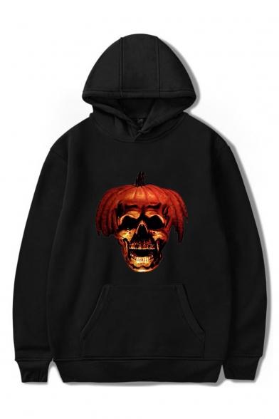 New Arrival Halloween Pumpkin Skull Printed Long Sleeve Casual Pullover Hoodie