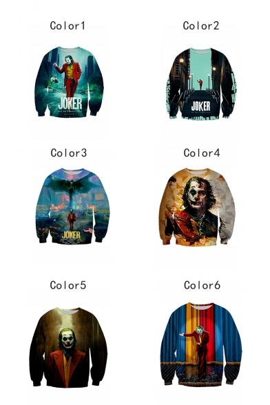 New Arrival Hot Popular Joker 3D Printed Long Sleeve Round Neck Loose Sweatshirts