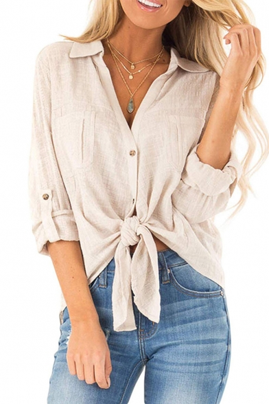 New Arrival Long Sleeve Button Down Knotted Front Loose Cotton Linen Shirt