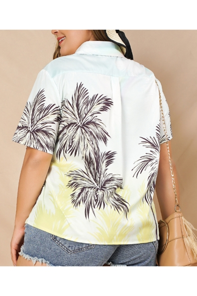 New Arrival Short Sleeve Lapel Collar Tropical Printed Button Down Loose White Shirt
