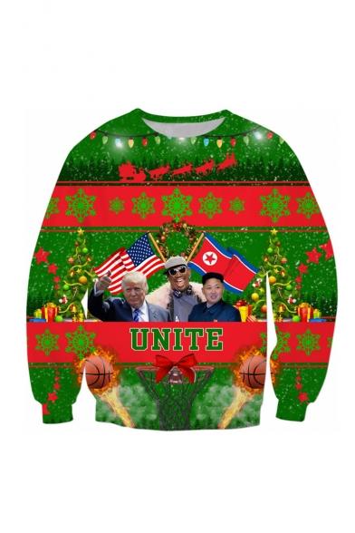 New Fashion Christmas Theme Funny Trump Printed Round Neck Long Sleeve Casual Sweatshirt