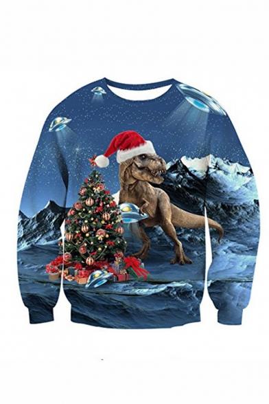 New Fashion Christmas Tree Dog 3D Printed Blue Long Sleeve Round Neck Pullover Sweatshirts