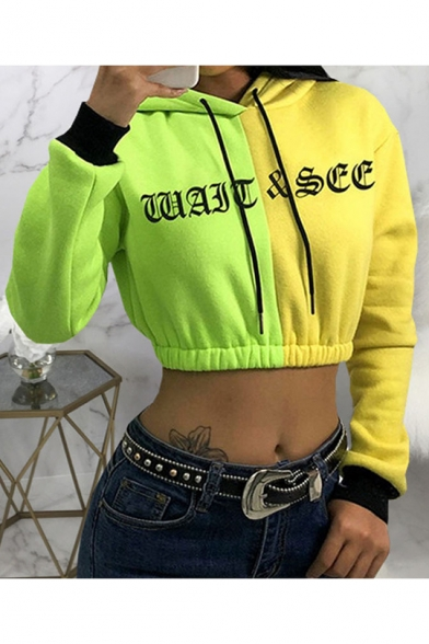New Fashion Letter Color Block Long Sleeve Pullover Hoodie