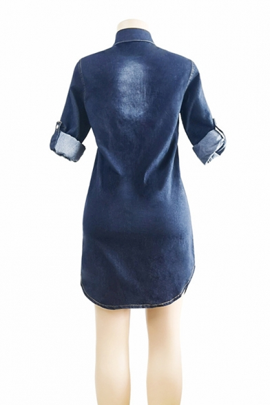 New Trend Lapel Collar Curved Hem Faded Wash Denim Coat with Pockets