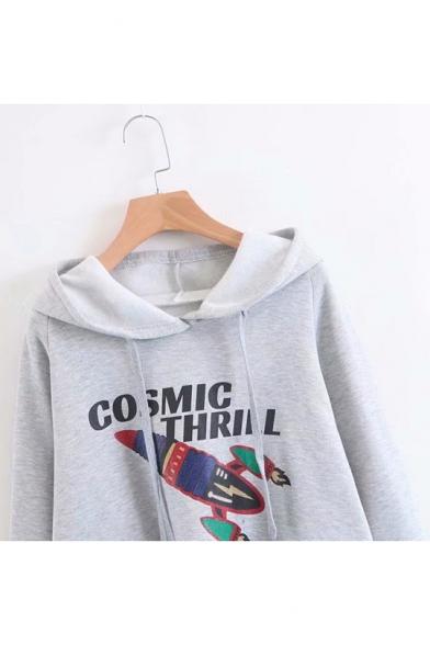 New Trendy Rocket Letter Cosmic Thrill Printed Long Sleeve Grey Pullover Loose Drawstring Hoodie