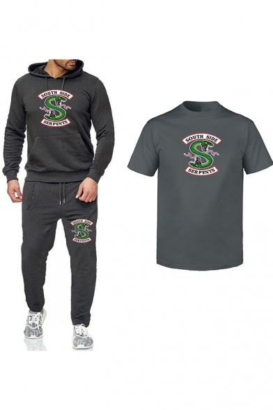 Popular South Side Snake Logo Printed Hoodie with Sport Joggers Pants Sweatpants Casual T-Shirt Three-Piece Set
