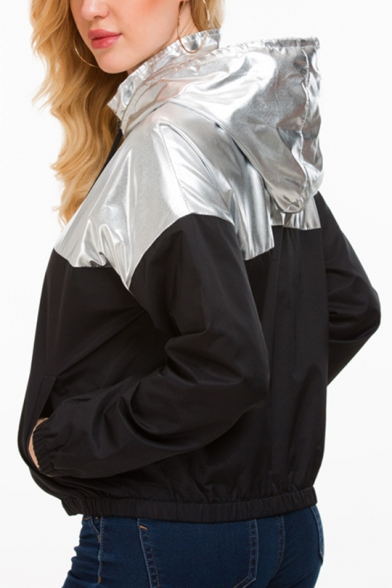 Sliver Metallic Panel Drawstring Hooded Long Sleeve Pocket Zipper Jacket Coat
