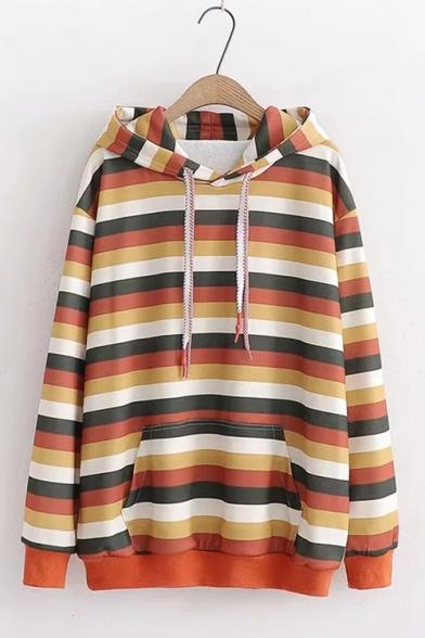 Students Fashion Orange Stripe Printed Long Sleeve Loose Leisure Hoodie