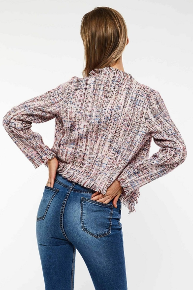 Stylish Collarless Open Front Fringe-Trimmed Long Sleeve Pink Cropped Jacket for Women