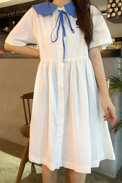 Summer Girls Tied Sailor Collar Short Sleeve Flower Embroidery Button Front Midi Babydoll Smocked Dress