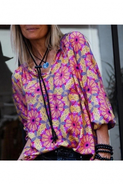 Summer Stylish Floral Pattern V-Neck Long Sleeve Casual Loose Blouse for Women