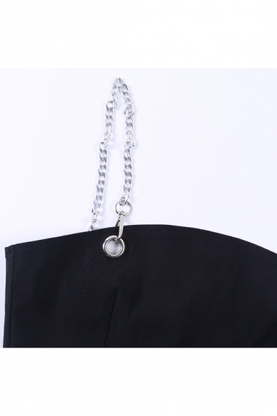 Summer Stylish Straps Sleeveless Cropped Top High Waist Mini Skirt Chain Embellished Knitted Co-ords