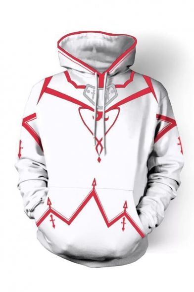 Sword Art Online Cosplay Costume Loose Fit Casual White Drawstring Pullover Hoodie
