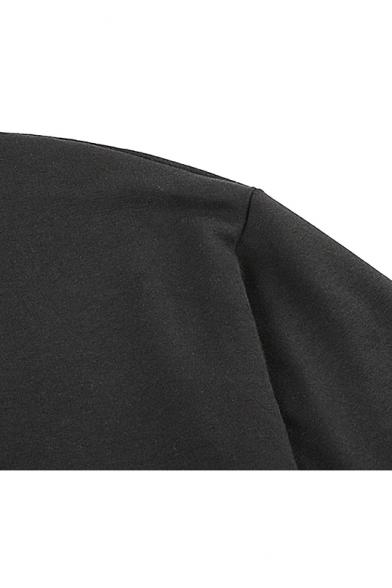 Women's Cool Punk Style Black Round Neck Metal Rings Detail Long Sleeve Cropped Sweatshirt