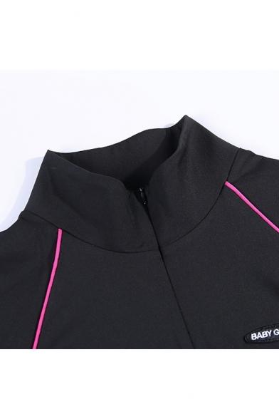 Women's Fashion High Neck Long Sleeve Half-Zip Letter Contrast Piping Mini Bodycon Dress