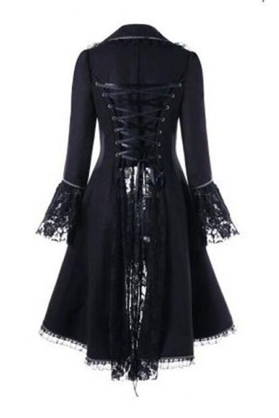Women's Gothic Vintage Tailcoat Steampunk Waist Tuxedo Bandage Lace-up Back Longline Coat